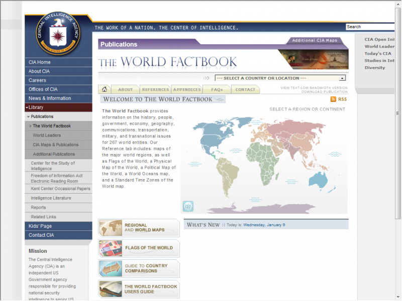 CIA Fact Book site screenshot