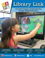 Cover of program guide: girl playing computer game on new touchscreen PC in Youth Department