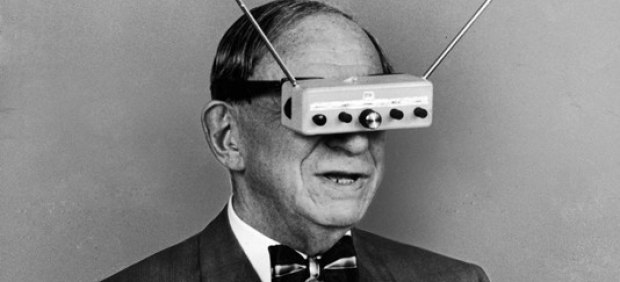 man with radio glasses