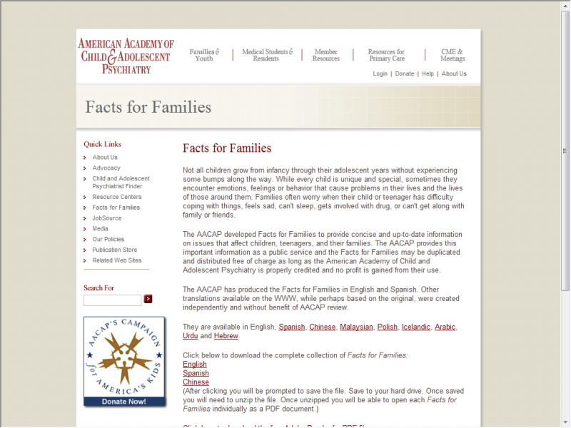 Facts for Families site screenshot