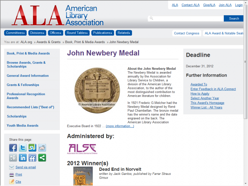 ALA Newbery screenshot