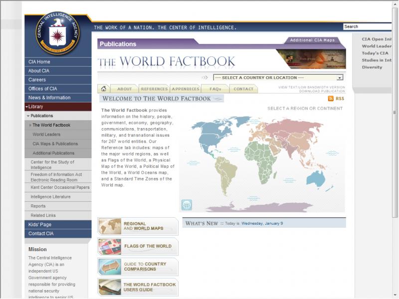 CIA Fact Book site screenshot
