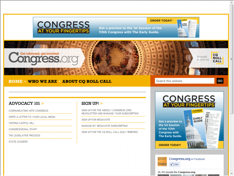 US Congress site screenshot