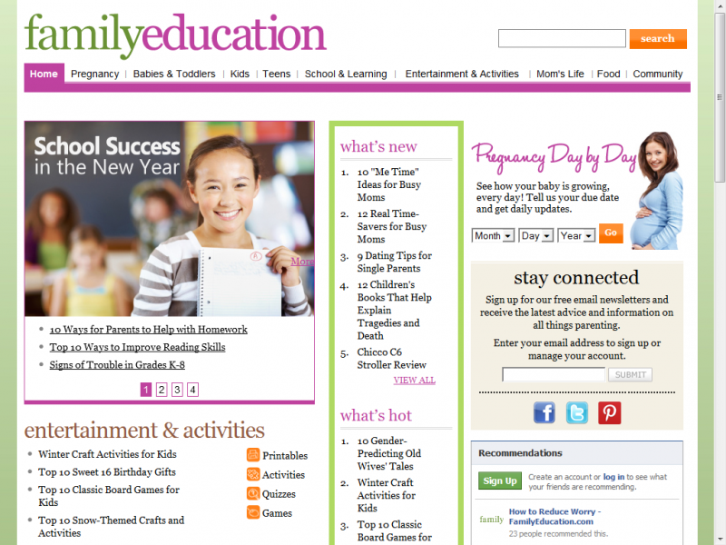 Family Education site screenshot