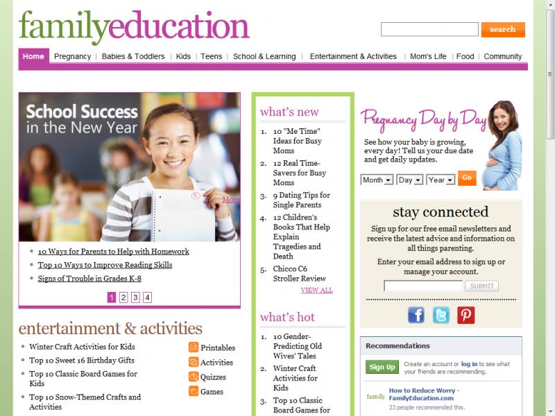 Family Education site screenshot