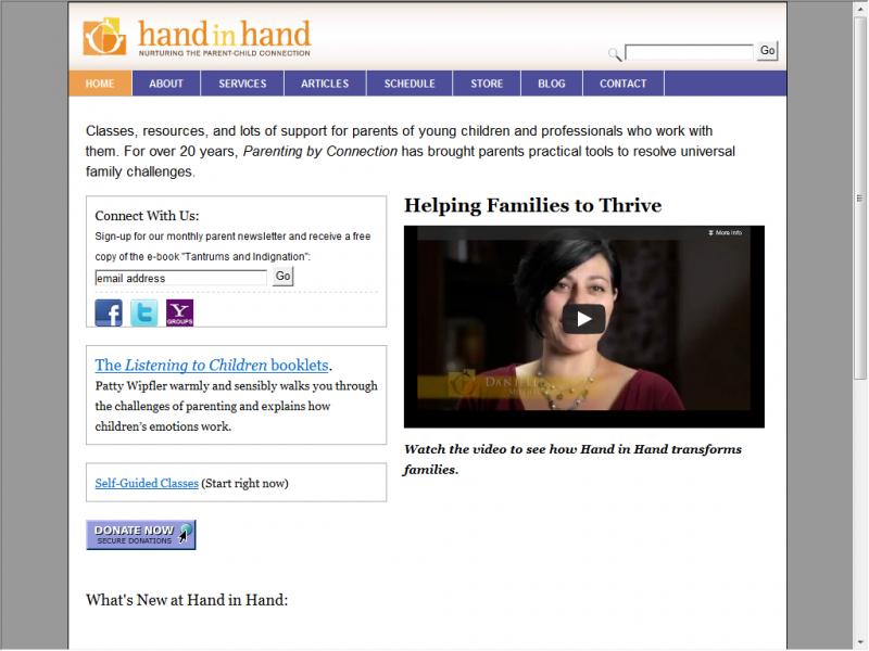 Hand In Hand Parenting site screenshot
