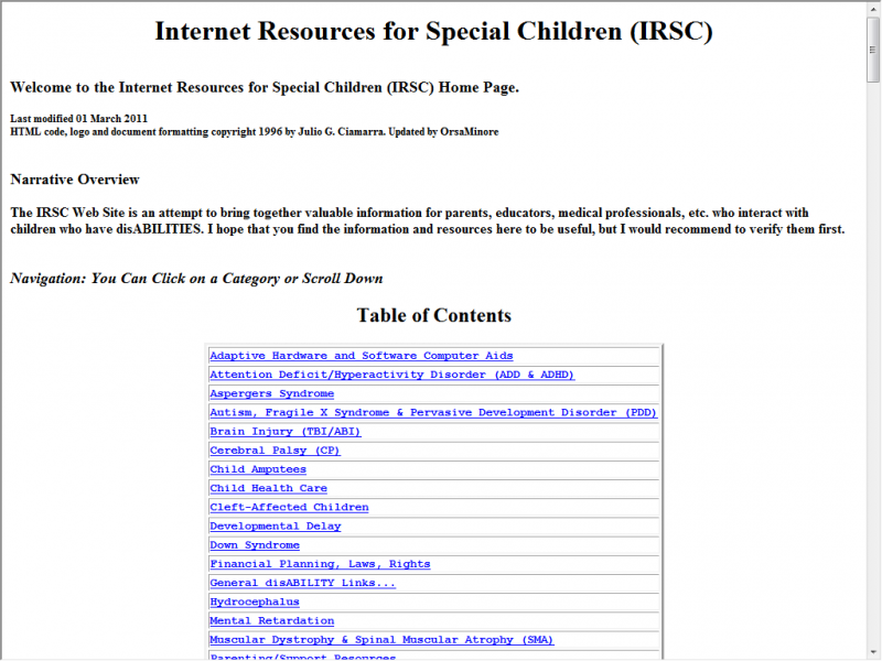 IRSC site screenshot