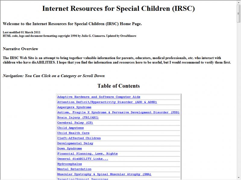 IRSC site screenshot