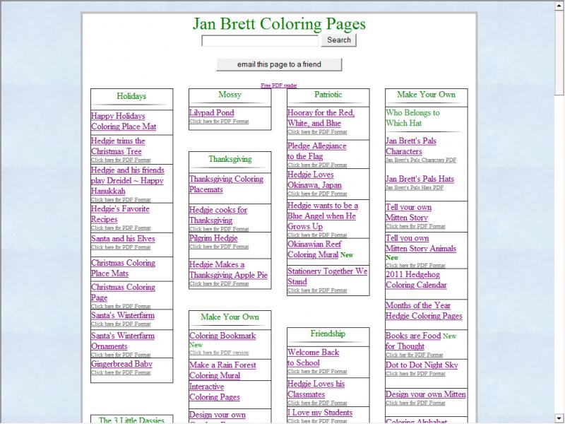 Jan Brett Activities Screenshot