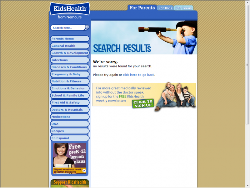 Kids Health site screenshot