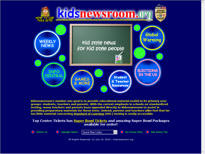 Kids Newsroom site screenshot