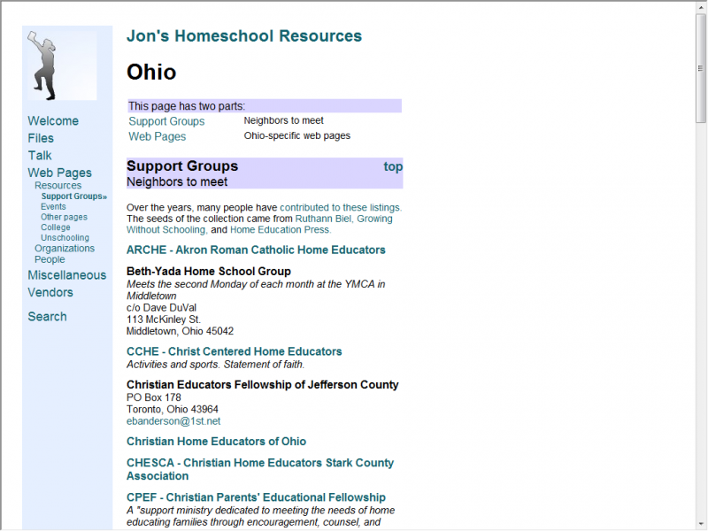Jon's Homeschool site screenshot