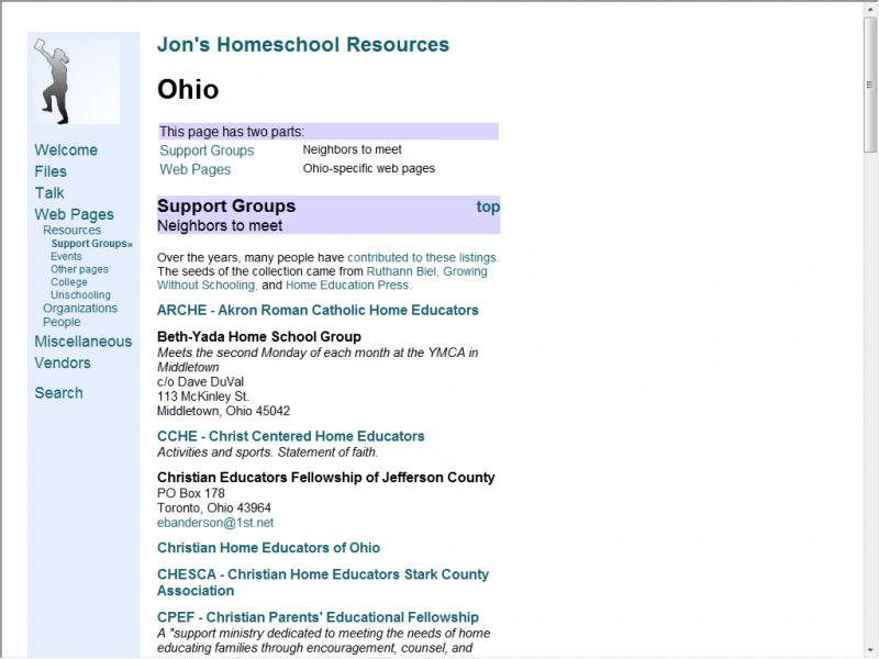 Jon's Homeschool site screenshot