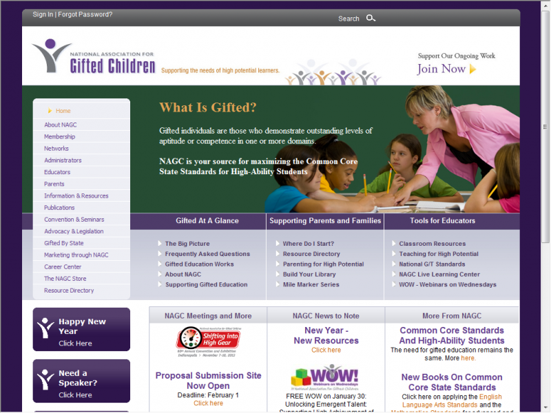 NAGC site screenshot