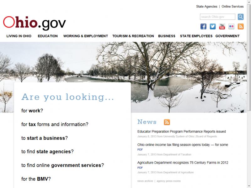 Ohio.gov site screenshot