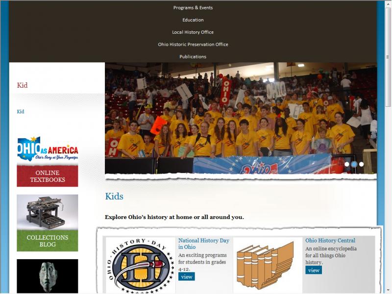 Ohio History site screenshot