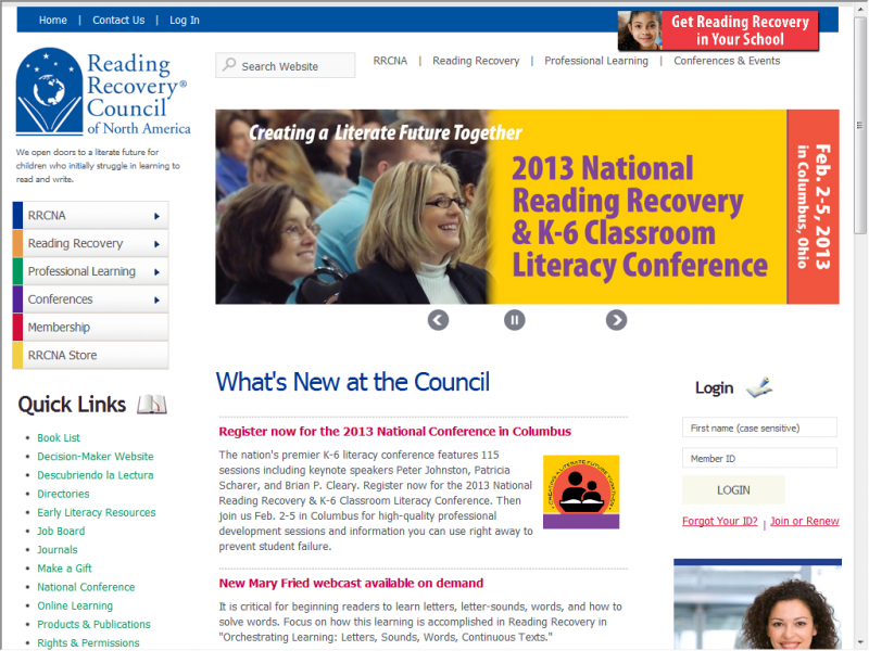 Reading Recovery site screeenshot
