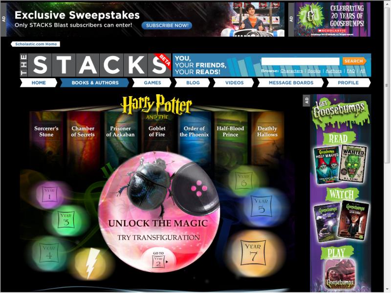 Scholastic Harry Potter screenshot