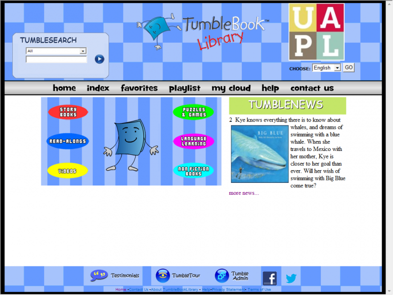 Tumblebooks site screenshot