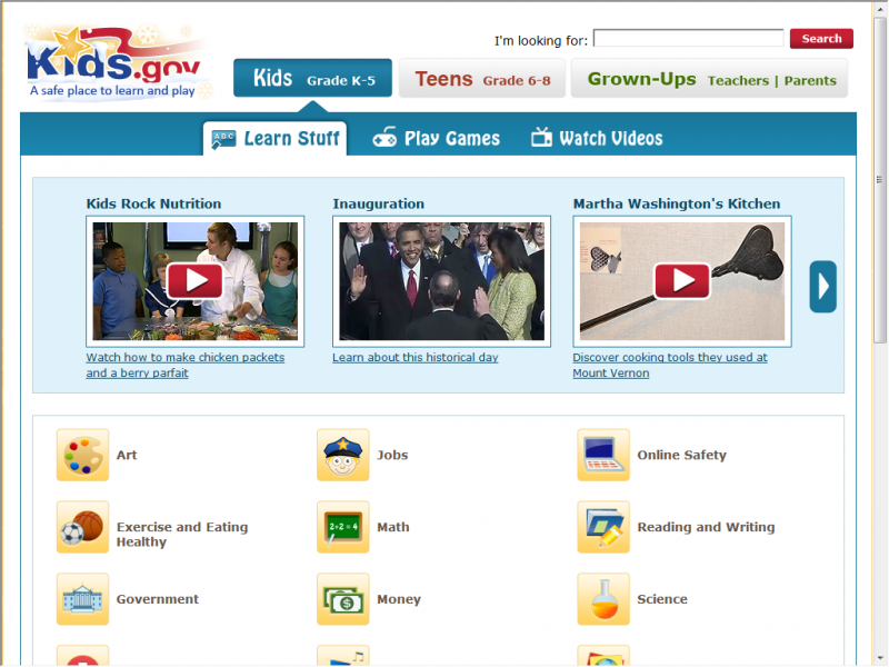 Kids.gov site screenshot