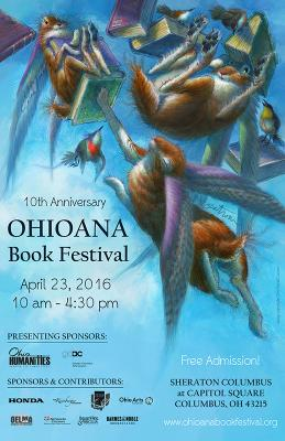 Ohioana Book Festival image, with books and bunnies