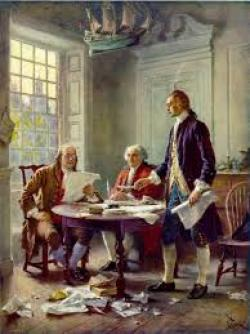 Painting of Thomas Jeffererson, John Adams and Benjamin Franklin writing the Declaration of Independence