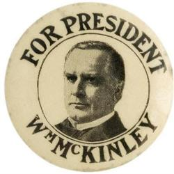 Black and white presidential campaign button for William McKinley