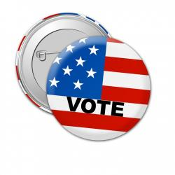 "Campaign Button that says ""Vote"" with red, white and blue U. S. flag-like background"