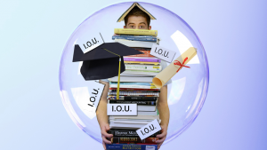 Student within a bubble holding a huge stack of books while juggling I.O.U.s