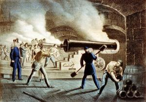Color lithograph of interior of Ft. Sumter