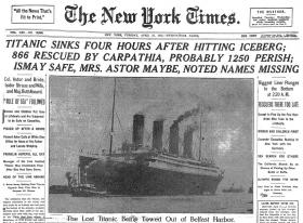 Image of front page of April 16, 1912 New York Times reporting the sinking of the Titanic