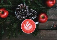 Color photo of white mug of coffee with heart design in whipped cream, pine boughs and two red apples on wooden table