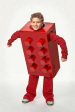 boy in red lego costume