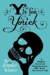 The cartoon hand of Hamlet holding Yorick's skull