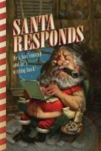 Santa smoking a cigar and typing on a laptop computer.
