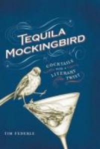 A mockingbird balanced on a martini glass