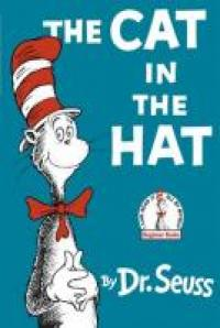 An anthropomorphic cat wearing a tall, striped hat.