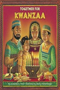 A family lighting candles in a Kwanzaa celebration