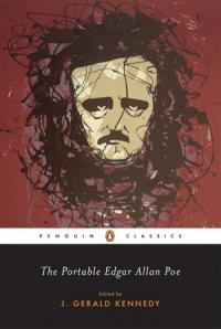A caricature of Poe against a crimson background
