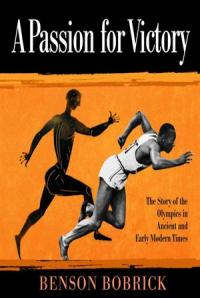 A photo of Jesse Owens running in front of an ancient Greek image of a runner.