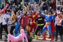 People dancing the Harlem Shake
