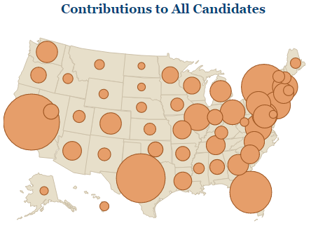 Map of contributions to all presidential candidates with circles of varying sizes representing the amount given in each state