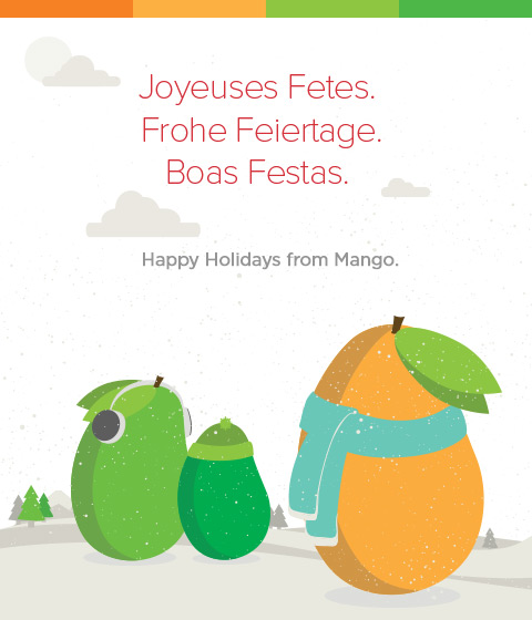 """Happy Holidays"" written in three languages, with three mangoes in winter gear"