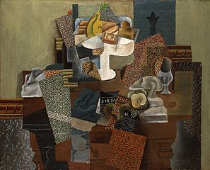 Picasso's Nature Morte au Compotier - a still life with fruit and other objects arranged on a table