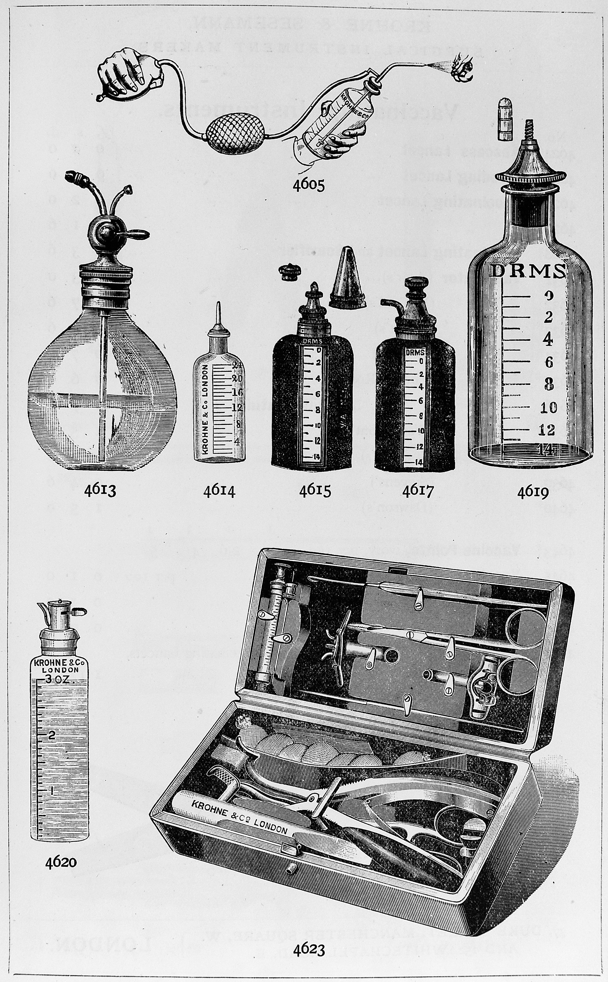 Sketch of bottles and equipment to administer ether