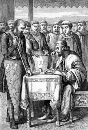 Signing of the Magna Carta at Runnymede England in 1215