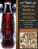 Logo for database Food and Drink in American History with Coke bottle and title of the book on a black background