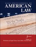 Logo of the database Gale Encyclopedia of American Law; red, white and blue rectangle with part of the US Constitution showing and white lettering.