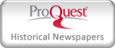 Logo for ProQuest Historical Newspapers database; Gray and red lettering on a light gray background